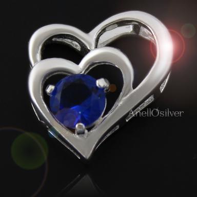Srebrne Serce z niebieską Cyrkonią