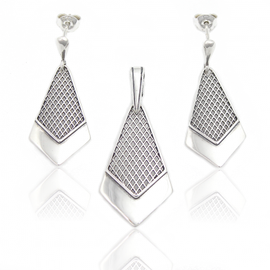 Silver Rhodium Plated Set - Earrings and Pendant