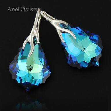Earrings Baroque z Swarovski Element's Bermuda Blue