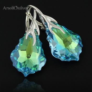 Kolczyki Baroque z Swarovski Element's Aquamarine