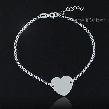 Silver bracelet with heart & engraved