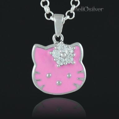 Srebrny Wisiorek Hello Kitty z Cyrkoniami