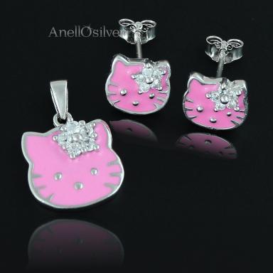 Srebrny Komplet Hello Kitty z Cyrkoniami