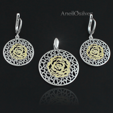 Silver jewelery with Rose covered with 24 carat gold.