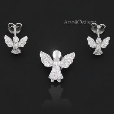 Srebrny Komplet -Aniołki - z Cyrkoniami